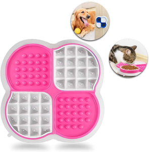 (R361)Dog Lick Mat - Slow Feeder Bowl & Lick Mats for Dogs Cats 2 in 1 - Pet Calming Treats & Anxiety Relief Licking Mats for Bathing, Grooming, Training - Perfect