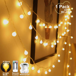(Y112)YoTelim Globe String Lights Battery Operated Warm White ,Water Proof 1 Pack 33FT 80 LED Globe Fairy String Light 8 Modes with Remote Control