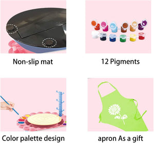 (K650)LHChan Pottery Wheel for Kids Beginners,DIY Pottery Studio,Pottery Wheels & Accessories with 2 Clay/Apron/Craft Paint Kit,Ceramic Wheel Machine