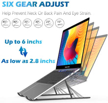 "Load image into Gallery viewer, (C747)QALTGC Laptop Stand Ergonomic Adjustable Portable Computer Stand Compatibility Up to 17.3""Laptops for Desk Aluminum Multi-Angle Foldable Ventilation Cooling Stand"