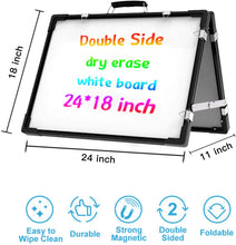 Load image into Gallery viewer, (V387)Small Whiteboard Dry Erase Boards, Portable White Board Double Sided Magnetic Board Stand, Foldable Desktop White Boards Easel