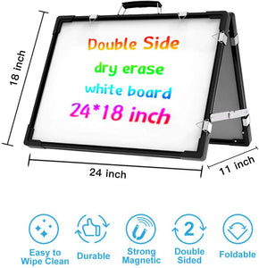(V387)Small Whiteboard Dry Erase Boards, Portable White Board Double Sided Magnetic Board Stand, Foldable Desktop White Boards Easel