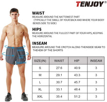 Load image into Gallery viewer, (W044)Tenjoy Men's Running Shorts Gym Athletic Workout Shorts for Men 3 inch Sports Shorts with Zipper Pocket