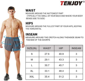 (W044)Tenjoy Men's Running Shorts Gym Athletic Workout Shorts for Men 3 inch Sports Shorts with Zipper Pocket
