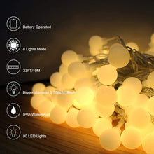 Load image into Gallery viewer, (Y112)YoTelim Globe String Lights Battery Operated Warm White ,Water Proof 1 Pack 33FT 80 LED Globe Fairy String Light 8 Modes with Remote Control