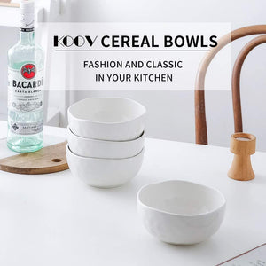 (X084)KOOV Porcelain Cereal Bowls Microwave And Dishwasher Safe, 24 oz Soup Bowl Set, Kitchen Bowls for Oatmeal, Chip, Rice, Pothole Series Set of 4