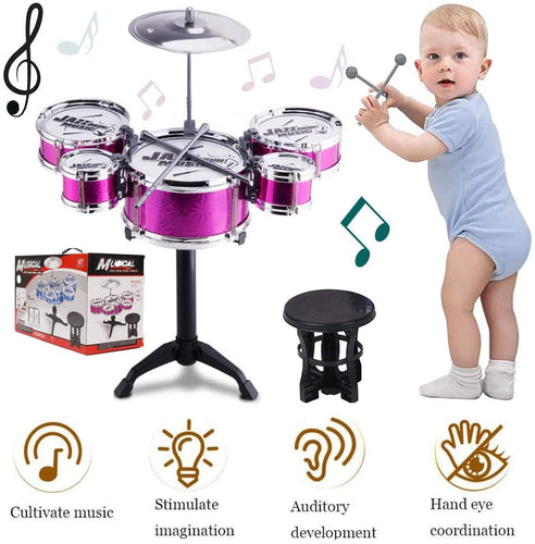 (Q285)SKLOER Kids Drum Set-Educational Percussion Instrument Kids Toy Stimulating Children's Creativity-Jazz Drum Set Ideal Gift for Kids,Boys and Girls - Purple