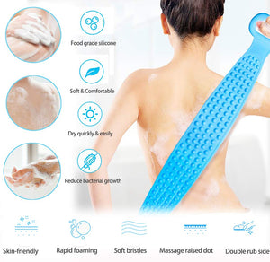 (H621)Silicone Back Scrubber for Shower, 35.4inches(90cm) Lengthen Bath Body Brush, Handle Body Washer and Exfoliating Texture Body Back Scrubber