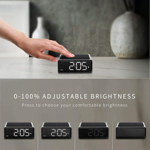 (R730)NOKLEAD Digital Alarm Clock with Qi Wireless Charger - Clear LED Display with 4 Brightness 12/24H Snooze for Bedroom Office Travel, Compatible