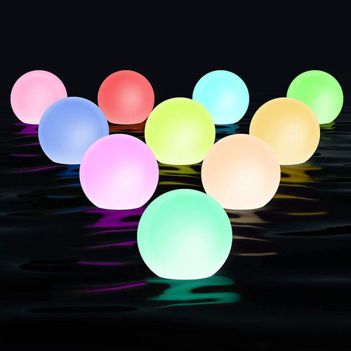 (S280)Chakev Floating Pool Light with Timer, 3-inch IP67 Waterproof Bathtub Orb Light, 16RGB Color Changing LED Night Balls Hot Tub Bath Toys with 6 Extra Batteries