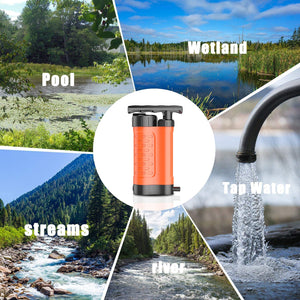 (H303)Ginkin Water Filter Pump 4 Stage Filtration Protection,0.01 Micron Portable Water Purifier Pump