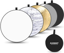 Load image into Gallery viewer, (Y734)ELEGIANT 43 Inch/110 cm Light Reflectors for Photography, 5-in-1 Portable Photo Reflectors Collapsible Multi-Disc with Bag - Translucent, Silver, Gold, White, Black