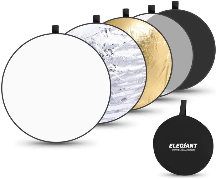 (Y734)ELEGIANT 43 Inch/110 cm Light Reflectors for Photography, 5-in-1 Portable Photo Reflectors Collapsible Multi-Disc with Bag - Translucent, Silver, Gold, White, Black
