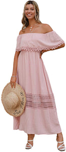 (M638)GRACEVINES Womens Boho Off Shoulder Maxi Dress Short Sleeve Ruffle party Beach Dress