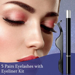 (E420)5 Pairs Lashes and Eyeliner Set Upgraded Reusable Waterproof Eyeliner