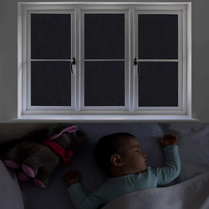(E723)Blackout Window Film, 35.4 Inch x 8.2 Feet, Blackout Non Adhesive Removable Window Film Blackout Privacy for Home, Anti UV Darkest Static Cling Window Tint
