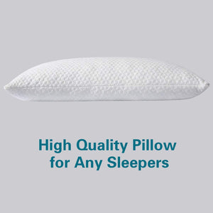 (H420)TEKAMON Shredded Memory Foam Pillow for Sleeping with Washable Removable Cooling Bamboo Cover,Hypoallergenic Home Pillow Hotel Collection Bed Pillows CertiPUR