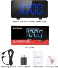 Load image into Gallery viewer, (R806)Digital Alarm Clock, ELEGIANT Alarm Clocks for Bedrooms with FM Radio, Dual Alarms, 7.3'' LED Screen, USB Port for Charging, 4 Brightness, 12/24H, Automatic Dimmer