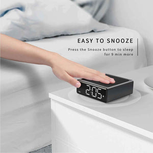 (R733)NOKLEAD Digital Alarm Clock with Qi Wireless Charger - Clear LED Display with 4 Brightness 12/24H Snooze for Bedroom Office Travel, Compatible