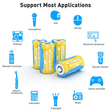 Load image into Gallery viewer, (C038)123A Batteries for Arlo Rechargeable, 8 Packs 3.7V 800mAh Battery and CR123A Charger