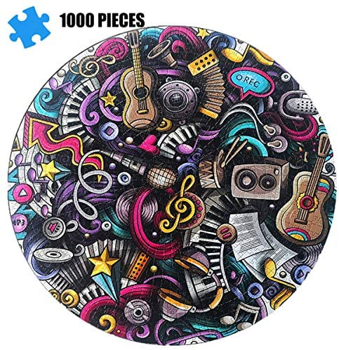 (T370)Adult Jigsaw Puzzle 1000 Pieces Puzzle-Guitar, an Educational Intellectual Decompression Toy, Fun Round Puzzle, Family Game