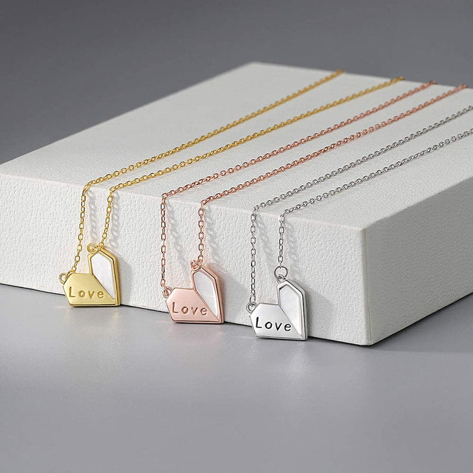 (V950)BDD CO. Love Necklace for Girlfriend, Sterling Silver I Love You Necklace with Shell, Dainty Heart Pendant Necklace for Women, Gold Plated