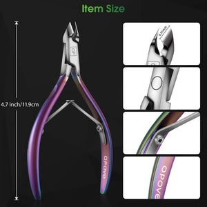 (Y975)Cuticle Trimmer Cuticle Nippers Clippers Stainless Steel Hangnail Remover Extremely Sharp Cutter Pedicure Manicure Tool, opove X7 Rainbow Gradient