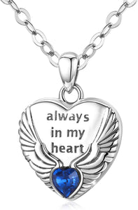 (F052)Angel Wings Heart Locket Necklace That Holds Pictures with Cubic Zicornia, Always In My Heart 925 Sterling Silver Photo Necklaces for Women Girls Jewelry Gifts