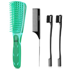 Load image into Gallery viewer, (E945)4 Pcs Detangling Brush, Goowin Detangler brush, Easy Detangler Brush with Edge Brush & Tail Comb, Detangling Brush for Black Natural Hair