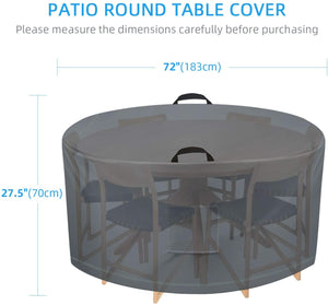 (K750)TAOCOCO Outdoor Patio Furniture Covers, 600D Waterproof Table Chair Set Covers, Anti-Fading Cover for Round Table Dining Set