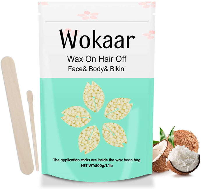 (R713)Hard Wax Beads 500g, Stripless Wax beans Hair Removal Kit for Full Body, Face, Leg, Brazilian, Bikini,Refill Pearl Beads for Wax Warmer Kit,20 Wax Spatulas