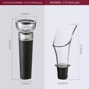 (X442)Wine Pourer and Stopper, Luxury Wine Pourer Pour Spout and Wine Stopper Vacuum, Wine Pourers and Stoppers Corks for Red Wine Liquor...