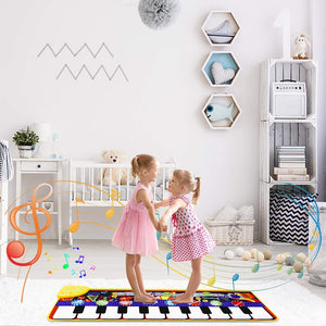 (K482)M SANMERSEN Piano Mat for Kids 43.3'' X14.2'' Electronic Dance Mat Music Piano Carpet Early Education Toys for Toddlers Boys Girls