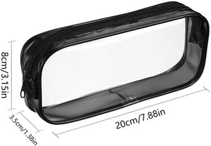 (G130)Clear PVC Zipper Pen Pencil Case,Portable Travel Toiletry Bag,Big Capacity Stationery Pencil Bag(Black an&White)