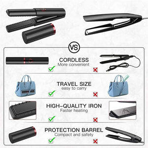 (X210)AILISS Pro Hair Straightener and Curler 2 in 1 Cordless Hair Straightener Flat Iron for Wireless