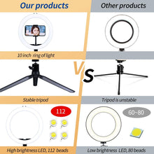 "Load image into Gallery viewer, (T331)10"" LED Ring light with Stand and Phone Holder, Dimmable Desk Selfie Ring Light with Tripod Stand for Makeup/Camera/Live Streaming/YouTube/Vlog/Tik Tok"
