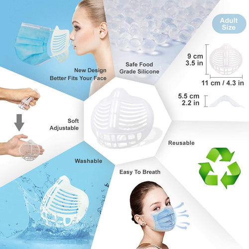 (T011)Internal 3D Face Mask Bracket Support Frame for More Breathing Space-Reusable Silicon Mask Accessories (10PCS, Large, Adults Size)