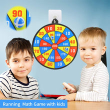 Load image into Gallery viewer, (W947)Qutasivary 36pcs Board Games for Kids, 2 Pack Dart Boards for Kids with 16 Sticky Balls&16 Velcro Darts , 13 inches Darts Board Set with Hooks, Xmas Gift