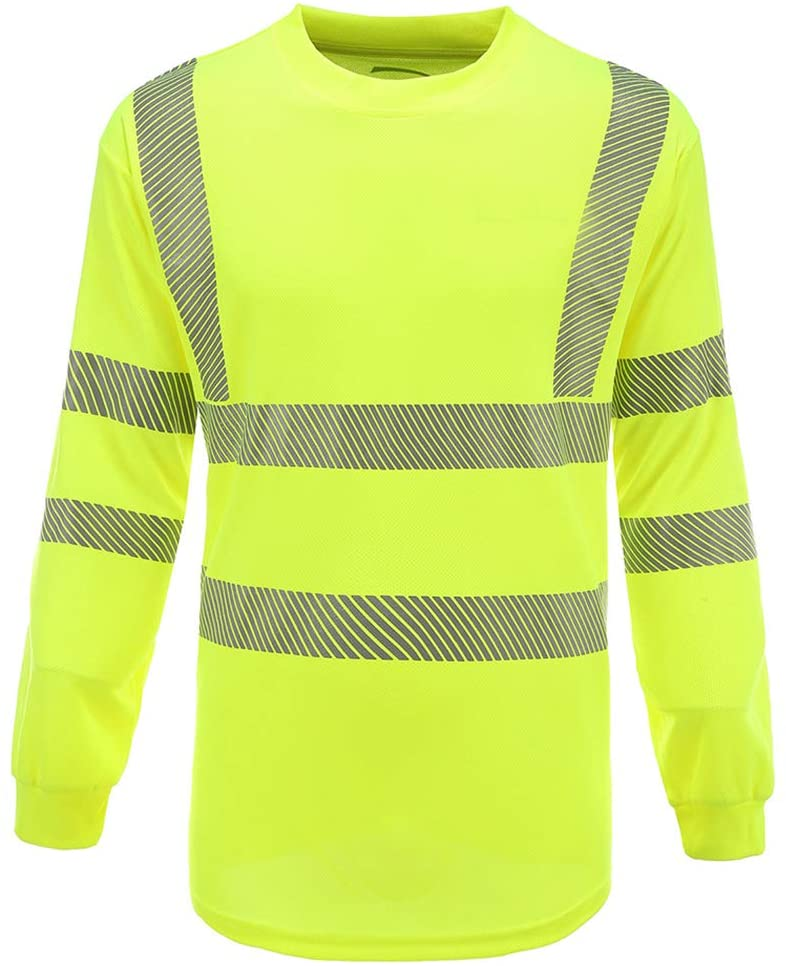 Safety Shirt Long Sleeve with Breathable Thermo Print Reflective Stripes Yellow XL