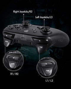 (Q825)Wireless Controller for Nintendo Switch, Gamepad for Switch with Dual Vibration, Gyro Axis and Turbo, Support Switch, Switch Pro, Windows XP/10/7/8/8.1