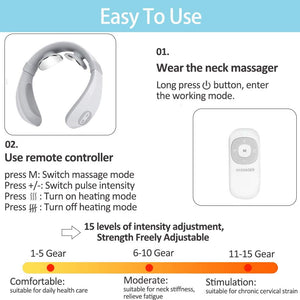 (H620)Neck Massager, Intelligent Portable Neck Massager with Heat, Cordless Neck Relax Massager with Deep Tissue Trigger Point to Relax and Relief Pain