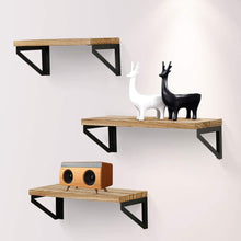 Load image into Gallery viewer, (F089)Jaweke Floating Shelves Wall Mounted Set of 3, Rustic Solid Wood Wall Storage Shelves Decorative for Bathroom, Living Room, Bedroom, Kitchen and More