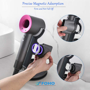 (R049)Foho Hair Dryer Holder for Dyson Supersonic, Magnetic Stand Holder with Power Plug Cable Organizer, Aluminum Alloy Bracket, Bathroom Organizer