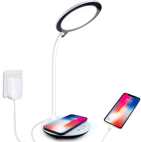 (S860)Desk Lamp. LED Desk Lamp with Wireless Charger, Dimmable Office Lamp with USB Charging Port, Foldable Table Lamp
