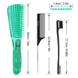 (E945)4 Pcs Detangling Brush, Goowin Detangler brush, Easy Detangler Brush with Edge Brush & Tail Comb, Detangling Brush for Black Natural Hair