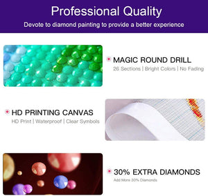 (E634)DIY 5D Full Drill Round Diamond Painting Kits by Number for Adults Crystal Rhinestone Embroidery Cross Stitch Arts Craft for Home Wall Decor Gift