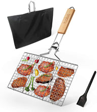 Load image into Gallery viewer, (F163)Huolewa Foldable BBQ Grilling Basket, Portable Barbecue Grill Tool for Fish Vegetables Steak Shrimp Chops, Made of Durable 304 Stainless Steel