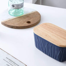 Load image into Gallery viewer, (X086)KOOV Porcelain Large Butter Dish with Lid, Airtight Butter Container with Oak Lid, Butter Crock, Perfect for 2 Sticks of Butter, Irregular Striped Series