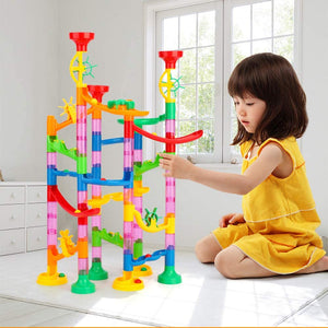 (W945)Qutasivary Marble Run Premium Set, 114Pcs Marble Maze for Kids, Construction Building Blocks Toys for Age 3+ Boys Girls Kids