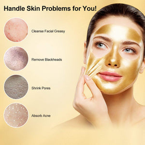 (Q261)24K Gold Face Mask, Blackhead Remover Mask, Peel Off Mask Gold, Collagen Facial Mask for Deep Cleansing